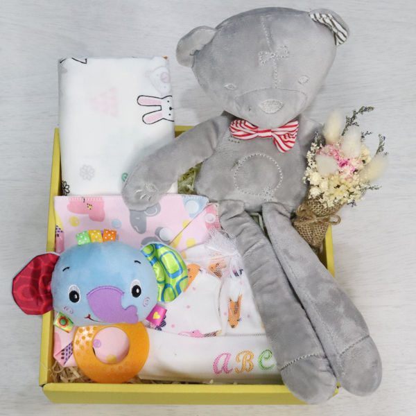 A gift box filled with goodies for a newborn baby girl like a teddy, mittens, socks, a hat & more.