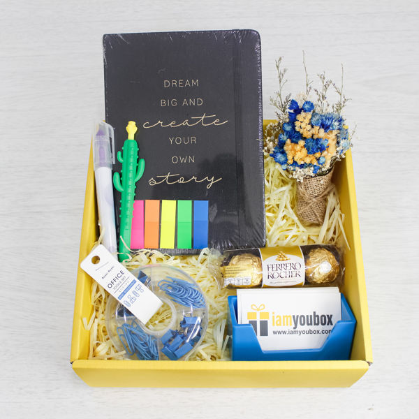 A corporate gift box will with stuff like pens, stickers, a notepad, a mug & some time to make new employers feel welcome.