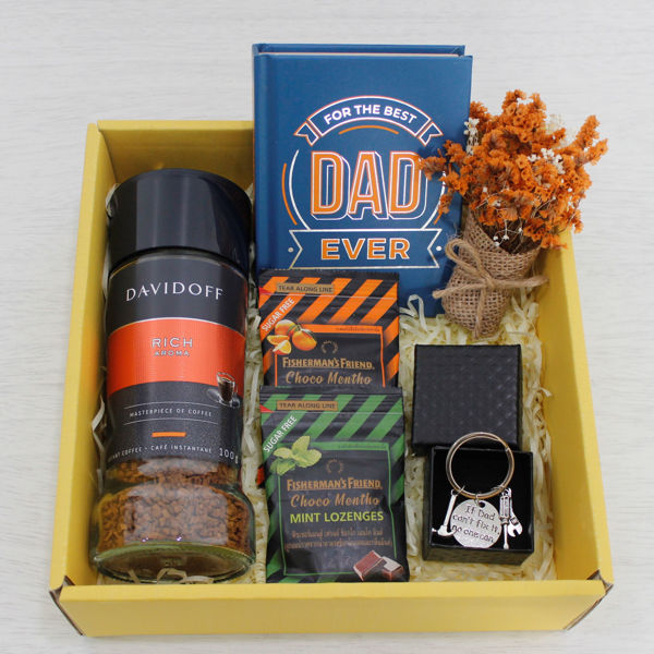 The Best Dad Gift Box gift for dad with cofee and a book